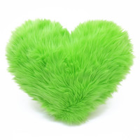 Lime Green Valentine Faux Fur Heart Shaped Decorative Pillow - Small Size