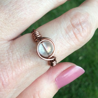 Clear ring, antique copper wire wrap, custom size, handmade