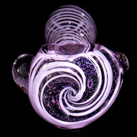 Heavy Purple Glass Smoking Pipe w/ Magnified Dichro Glitter Purple Dichroic Swirl