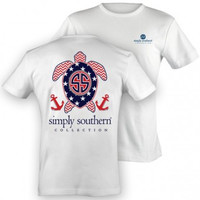 Simply Southern Patriotic Turtle Tee- White