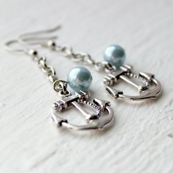 Faux Light Blue Pearl and Silver Chain Anchor Earrings - Trendy Dangle Earrings - Handmade Jewelry - Ready to Ship