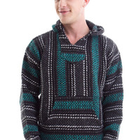 Baja Joe- Mexican Drug Rug Sweatshirt pullover hoodie 100% Recycled - Teal