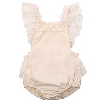 2016 New summer baby romper Girl's princess white lace Romper baby clothes Newborn Backless Jumpsuit