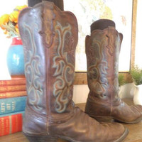 Vintage Justin Western Boots ~ Teal and Brown ~ Women's 7.5 ~