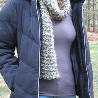 Fuzzy Scarf in Green and Black- choose traditional scarf or infinity scarf- Women's Winter Scarf- Green Infinity Scarf