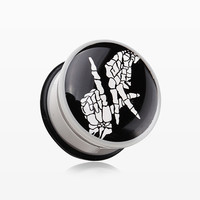 zzz-A Pair of 'LA' Reppin Skeleton Hands Single Flared Ear Gauge Plug