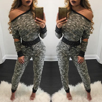 Gray and Black Cutout Sleeve Knitted Jumpsuit