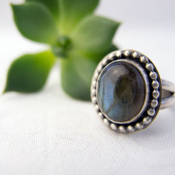 Northern Lights Jewelry, Sterling Silver Rings for Women, Labradorite Silver Ring