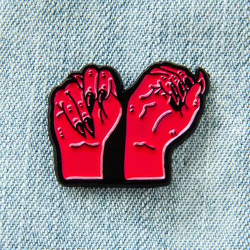 """NO"" Sign Language Enamel Pin"