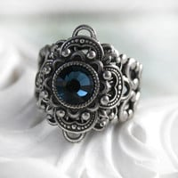NIGHT SONG Victorian fantasy cocktail ring with aged silver and midnight blue crystal, free gift boxing