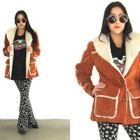 Vintage 70s SUEDE SHERPA Ms Pioneer Tan Brown Jacket Coat // Hippie Bohemian Gypsy // XS Extra Small / Small