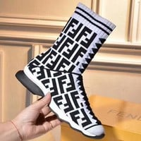 FENDI 2018 New Knitted Stretch Boots Flat Heel Thick Medium Socks Boots F-OMDP-GD White