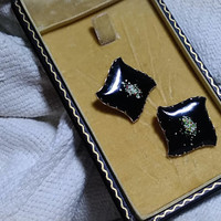 Dramatic Handmade Vintage Black  Copper and Brass Enameled Square Clip on Earrings 1960's All Occasion Fashion Statement  Clip On  Earrings