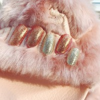 24Pcs Fashion Color Fake Nails Elegant Pink Reflection Glitter Gold Silver Oval Square Artificial Nail Tips with Glue Sticke