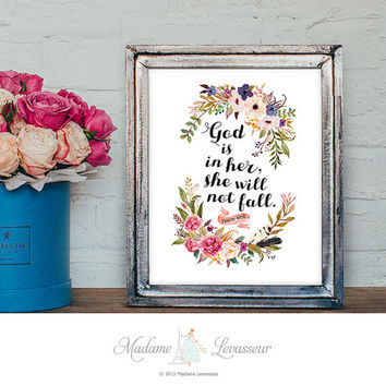 Psalm 46:5 Bible Verse God is in her she will not fall Printable Art Scripture Art Nursery Art Instant Download Watercolor Floral Art Print