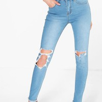 Charlie High Rise Clean Split Skinny Jeans