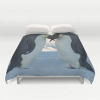 Emperor Penguin Courtship Duvet Cover by BravuraMedia | Society6