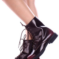 Faux Leather Burgundy Lace Up Boots