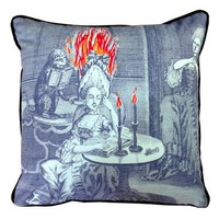 Embroidered Lady on Fire Pillow