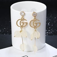 GUCCI Fashion new love heart letter zircon diamond women long women earrings two color