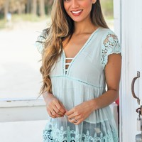 Mint V-Neck Top with Crochet Detail