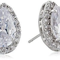 Pear shaped cubic zirconia studs with halo!