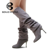 BONJOMARISA Big Size Women High Heel Boots Over The Knee Thigh High Boots Sexy Lady Fashion Winter Shoes Knight Boots XB345