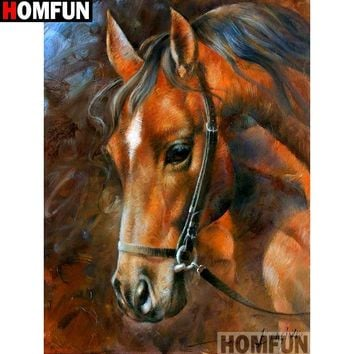 5D Diamond Painting Brown Horse With a Black Bridle Kit