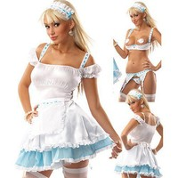 Intimate Lingerie Sexy White Imitated Silk With Thong And Hair Band Maid Costume - Sexy Costumes - Sexy Lingerie