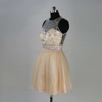 Champagne homecoming dresses,tulle bridesmaid dresses,crystal rhinestone prom dress in handmade,short party dress,evening dress,prom dresses