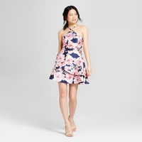 Women's Floral Print Y-Neck Satin Dress - Lots of Love by Speechless (Juniors') Navy