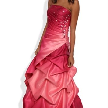 Ombre Long Prom Dress with Stone Ruched Sides and Pick Up Skirt