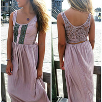 Newport Embellished Taupe Crochet Back Maxi Dress