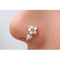 White Opal Flower Rose Gold Nose Hoop Nose Ring Daith Rook Cartilage