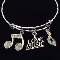 I Love Music Crystal Notes Expandable Bracelet Adjustable Wire Bangle Gift Trendy Musician Music teacher