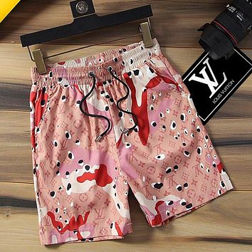 Lv Fashion Men Monogram Stripe Print Shorts Contrast Camouflage pink