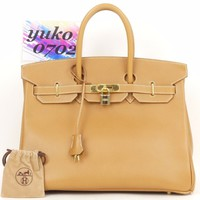 s8269 Auth HERMES Birkin 35 Natural Sable Ardennes Leather Hand Bag oZ 1996 GHW