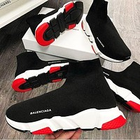 Balenciaga Sneakers Woman Men Sneakers Breathable Kint Socks Running Shoes Black red dots
