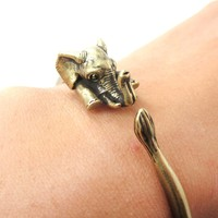 3D Baby Elephant Wrapped Around Your Wrist Shaped Bangle Bracelet in Brass