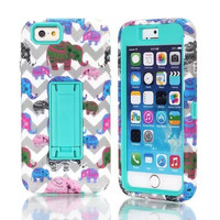"""3 in 1 Stand Phone Cases Cute Elephants For Case Apple iPhone 6 4.7"""" Cover w/Screen Protector Film + Stylus Pen"""
