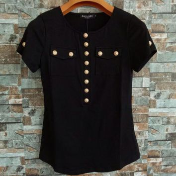"""Balmain"" Women Simple Fashion Buttons Decoration Short Sleeve Bodycon T-shirt Round Neck Tops"