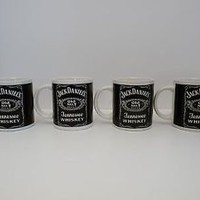 Jack Daniels Coffee Cup Mug Old No 7 Whiskey Tennessee 2001 Logo Set of 4