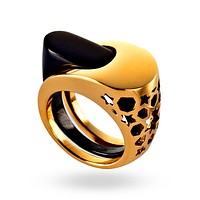 Gold & Black Intersection Ring