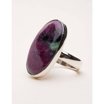Ruby Zoisite Oval Ring - Size 7