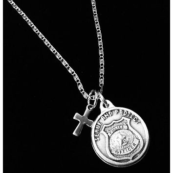Saint Michael Silver Necklace Serve and Protect Police Officer Gift Catholic Medal Inspirational Saint Necklace for Men
