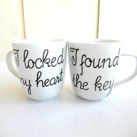 "Super cute couple mugs ""I locked my heart, I found the key"""