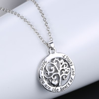 Mom Heart Family Tree Necklace