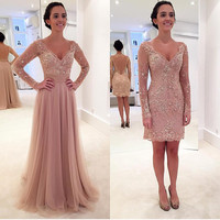 Chic Blush Pink Prom Dresses with Detachable Train Sexy Sheer Long Sleeves Prom Dress V Neckline Party Dress