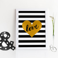 LOVE,GOLD HEART,Black And Gold,Lovely Print,Love Art,Gift For Wife,Gift For Boyfriend,Gift For Husband,Gift For Friend,Fashion Print,Print