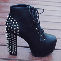 New 2015 Hot Sale Women Lace Up Studded Rivets Ankle Boots Rivtes High Heels Platform Shoes Motorcycle Boots Size 35-40